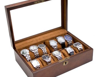 Personalized Rustic Wood Watch Box - Holds 10, Men's Gift, Father's Day Gift, Groomsmen Gift, Anniversary Gift, Christmas Gift