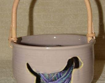 Dog, Yarn Bowl, Bamboo Handle, Labrador, Lavender, Yellow, Paw Prints,Yarn, Stoneware, Ceramic, Knitting, Crotchet, Craft Storage,