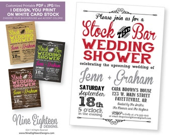 Wedding Shower INVITATION Stock the Bar Party. Customized Printable PDF/JPG. I design, you print.