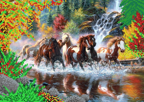 Seven Horses bead embroidery kit, embroidered beaded painting set, DIY wall decor, housewarming gift idea