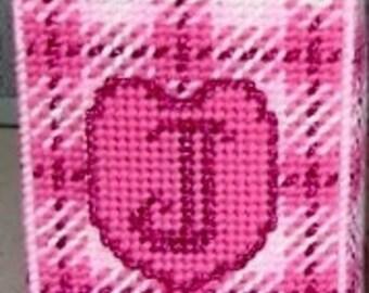 MONOGRAM APPLIQUE PLAID Boutique Size Tissue Box Cover