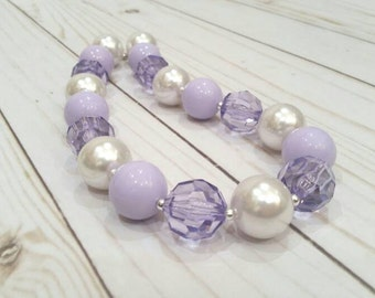 Easter Bubblegum Necklace, lavender and white necklace,  purple baby necklace, purple birthday, children's necklace, chunky bead necklace