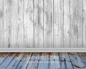 White Wall Baby Photography Backdrop, Wood Floor, Printable Wallpaper, Photo Shoot Background, Large Digital Floor Drop 61cm, 2x2ft