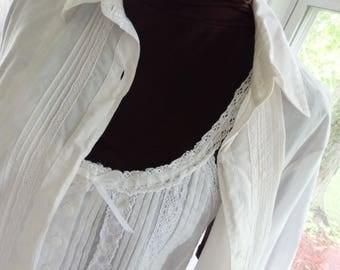 Victorian style Chemises, Cotton Camis, Cotton White Tops, Romantic White Tops, White Camisoles, Parisian Chic tops