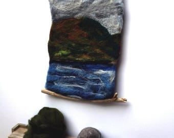 "SALE Scottish Seascape, Felt Wall Hanging, Needle Felted Picture "" Majestic Mountain"" with Driftwood Hangers"