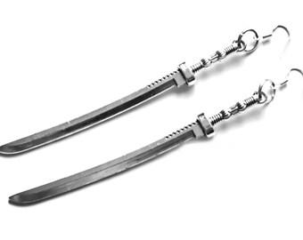 "5"" silver long Katana samurai Sword Earrings Michonne Zombie Apocalypse 925 silver hooks"