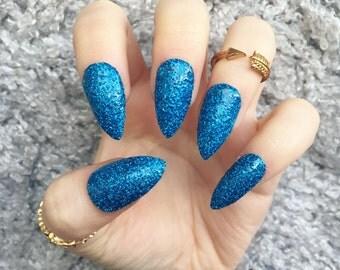 NAILED IT! Hand Painted False Nails - Blue Glitter