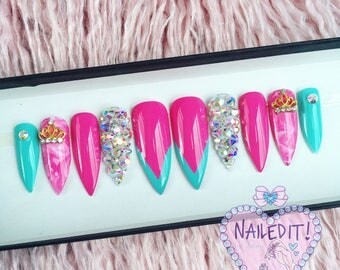 NAILED IT! Hand Painted False Nails - Pink Turquoise Princess Crown