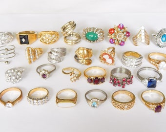 27 Rings - Various Sizes And Designs - Vintage - Wear Resell Repurpose