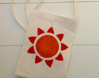 Simple cotton bag stencilled sunflower design in red and orange