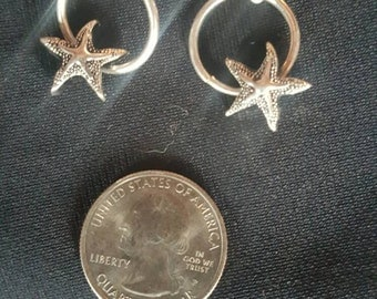 Silver Plated Starfish Hooper Earrings