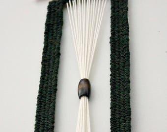 Long Modern Weaving with Beads, Woven Wall Hanging, Macrame Weaving, Unique Wall Art, Boho Style Weaving, Long Tapestry, Wall Weaving Bead