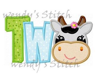 Girly cow applique number two machine embroidery design instant download