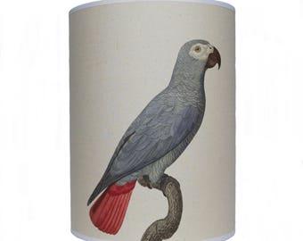 Blue parrot shade/ lamp shade/ ceiling shade/ drum lampshade/ lighting