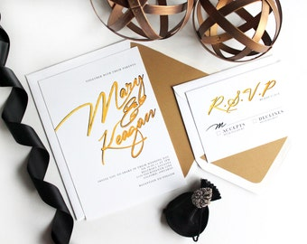 Gold hand-brushed Modern Wedding Invitations//  Statement Wedding Invitations.  Elegant. Handwritten type Wedding Invitation.  White & Gold.