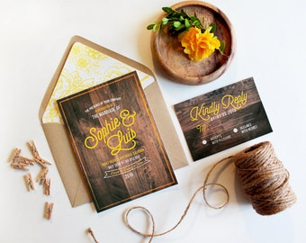 Wood Printed Rustic Wedding Invitation suite // Yellow Invitations. Invite. Hipster. Countryside wedding. Outdoor wedding Invitations.