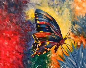 Butterfly Fine Art Giclee Print on Canvas Wall Art Abstract Insect Wall Decor