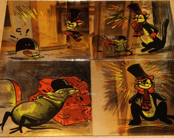 """vintage 1970 Hoyne set of 4 ,12""""X12"""" mirror tiles of cat and mouse"""