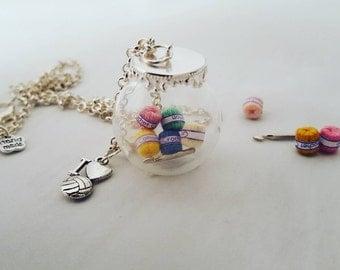 Silver I love Crochet globe handmade necklace