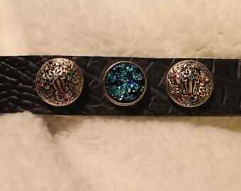 Leather Interchangeable Snap Bracelet/ Plus three snaps