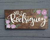 Custom Name Desk Plaque, Teacher Gift, Custom Hand Painted Teacher Gift, Custom Floral Name Plaque, Wood Stained Wood Name Sign, Hand Letter