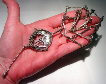 JUHLS KAUTOKEINO, Norway, Modernist Brutalist Sterling Silver Necklace