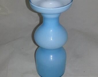 Handmade light blue/turquoise vase from Lindshammar Glass work Sweden 1950-60s.
