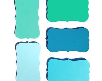 "Blue Ocean Ombre Color Note Cards / Place Cards - Size (2"" X 3.5"") -  50-pk"