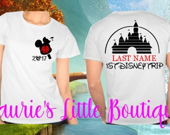 20 designs--Mickey or Minnie ADULT AND KIDS monogrammed shirt-  Free Shipping - minnie mouse - Disney - mickey mouse - Matching Disney Shirt