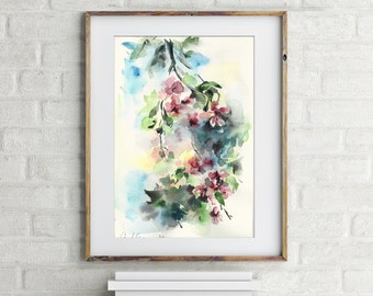 Painting of Floral Blooming Branch, ORIGINAL Watercolor painting, flowers watercolour art