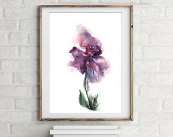 Abstract Purple Flower Original Watercolor Painting, white background, watercolor art, flower painting by CanotStop