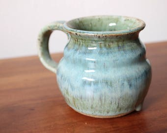 GREEN & BLUE MUG -  lime green, teal and white handmade pottery, great for coffee, tea, latte, espresso or anything else!
