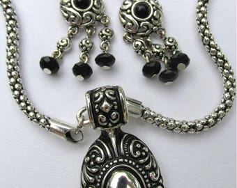 Vintage Never Worn 16in Necklace w 1in Dangle Earrings Matching Set Silvertone and Black Beads Dressy Set Antiqued Metal