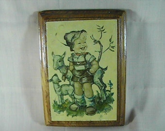Vintage 60's Laughing Boy Wooden Plaque, Hummel Plaque, Decoupage Plaque, Laughing Child, Nursery Decor, Wall Decor