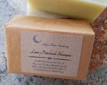 Lime & Patchouli Sudsy Shampoo Bar, Vegan Shampoo, Solid Shampoo Bar, Eco Friendly Shampoo, Natural Shampoo, Sulfate Free, Dreadlock Shampoo