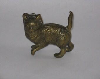 Vintage small brass cat figurine