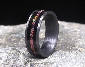 Gabon Ebony Black Cherry Lab Opal Inlay Carbon Fiber Wedding Band or Ring