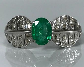 Vintage Emerald Ring. Diamond Art Nouveau. 18K Gold. Unique Engagement Ring. Estate Jewelry. May Birthstone. 20th Anniversary. APPRAISED