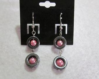 Pink & Hematite Dangle Earrings