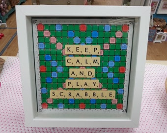 "Quirky Handmade ""Keep Calm and Play Scrabble"" Wooden Frame Gift, Made Using up cycled Scrabble pieces and Board"