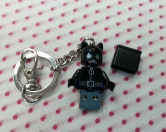 Hand Made USB Flash Drive, 16GB made using a Cat Woman LEGO minifigure with Giftbox