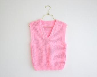 Vintage Chunky Knit Vest, Pastel Sleeveless Knit Sweater, Bubblegum Pink Vest size Small