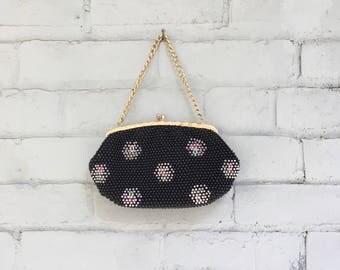 1960s black beaded clutch / 60s floral evening bag / 1960s black floral pocketbook