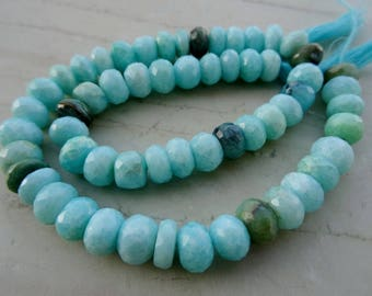 9-9.5 mm Natural Earth Mined Sky Rare Blue Green Peruvian Opal Faceted Round 8x1/2  inch  half strand-AAA+