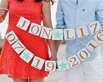 BEACH WEDDING BANNERS - Name Signs - Save the DaTE - Engaged SignS - Sweetheart Table Signs
