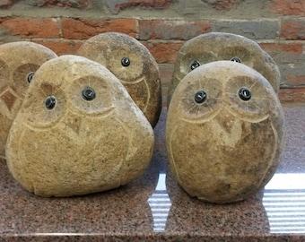 """6"""" Stone Rock Boulder Owls"""