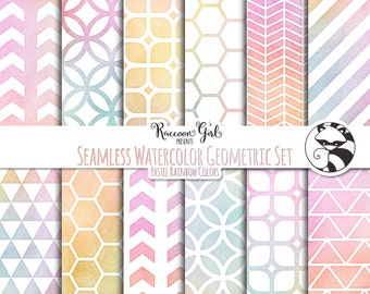 Seamless Watercolor Geometrics in Pastel Rainbow Colors Digital Paper Set - Personal & Commercial Use