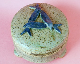 Perry Marsh Pottery Pilchard/Sardine Pot- Cornish Celtic Pottery Lid/Footed Bowls - Cornish Studio Pottery - Helston Pottery - Circa 1990s