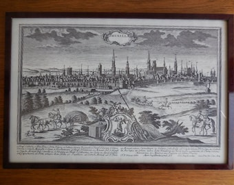 A Black and white Framed Print of 17th Century Brussels Belgium