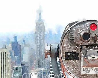 Watercolor New York City Skyline Digital Photo